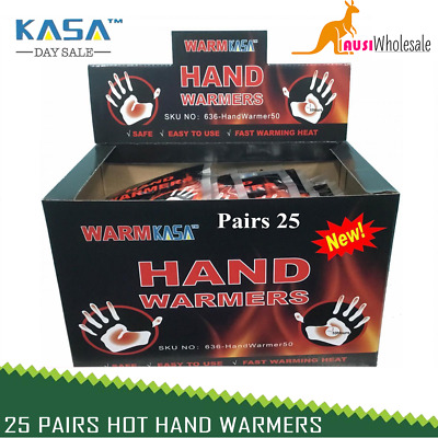 50 KASA 25 Pairs Hot Hand Warmers Pack 10 Hrs Natural