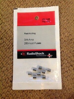 Fast-Acting 3/4 (.75) Amp 250 Volt 5 X 20 mm Fuses 270-1048 by RadioShack 4 Pack
