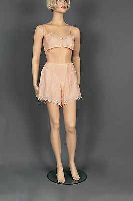 Size Small Authentic 1930 Dance Set Of Pink Silk & Lace Uplift Bra & Underpants