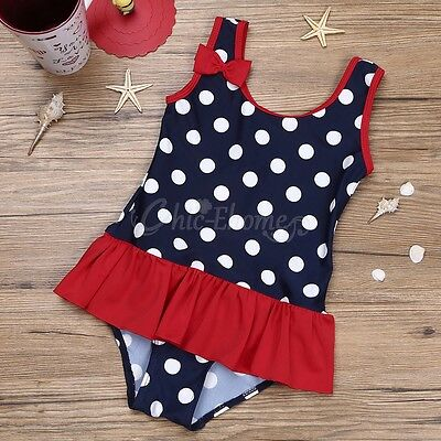 Kids Baby Girls Polka Dot One Piece Bikini Swimsuit Swimwear Swimmers Bathers