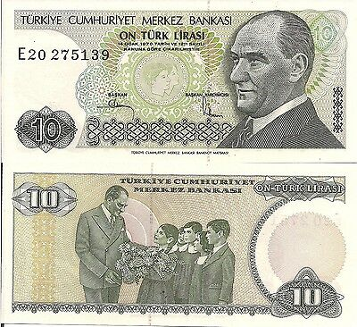 Turkey P193, 10 Lira, Ataturk / Ataturk with children, UNC  see UV & w/m images