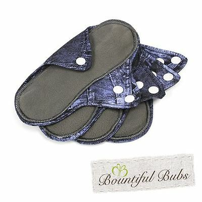 Reusable, Washable, Organic Bamboo Cloth Pads. 4 pack. Sml. Bountiful Bubs. dm