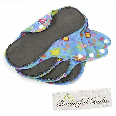 Reusable, Washable Organic Bamboo Cloth Pads. Med. 4 pack. Bountiful Bubs, sg