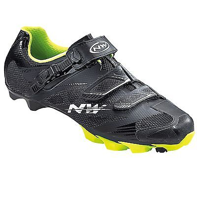 Northwave Scorpius 2 SRS MTB Mens Shoes In Black / Yellow Fluo - Size Euro 40