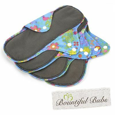 Reusable, Washable Organic Bamboo Cloth Pads. Lge. 4 pack.  Bountiful Bubs, sg