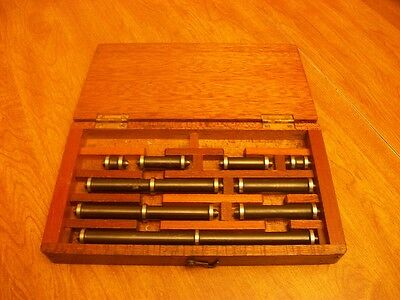 Set of End Measuring Rods With A Nice Wood Case L@@K No Reserve Machinist Tools