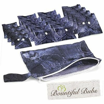 Washable, Reusable Bamboo Cloth Pads Deluxe Pack. Denim, Bountiful Bubs