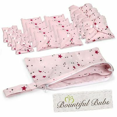 Washable, Reusable Bamboo Cloth Pads Deluxe Pack.  Stargaze, Bountiful Bubs