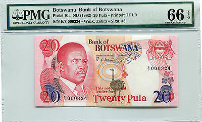 BOTSWANA  10a  --  CU  --  1982  --  LOW NUMBER  --  PMG 66EPQ