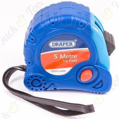 DRAPER 5M/16ft SOFT GRIP TAPE MEASURE Self Lock Metric/Imperial Measuring Marks
