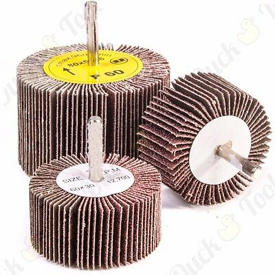 ABRASIVE FLAP WHEEL SANDING SETS 60-80mm DIAMETER Drill 6mm Shank GRIT 40-80