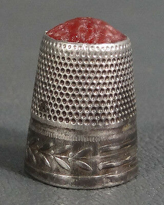 Victorian Sterling Silver Carnelian Gemstone Sewing Needle Thimble Finger Shield