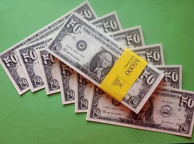 DOUBLE SIDED STACK OF $50 BILLS. Fun/Fake/Money/Dollars/Novelty/Stag/Hen/Decor