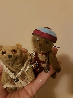 Antique Old  WW1 Farnell Soldier Mascot Miniature Bear - 2 together❤