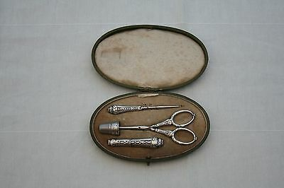 ANTIQUE FRENCH STERLING SILVER SEWING SET 4 PIECES IN ITS LEATHER BOX XIXth C.