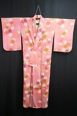 Vintage Japanese Kimono/Coat/Robe/Dress Pink/Multi Silk Blend 'Maple Leaves' S/M