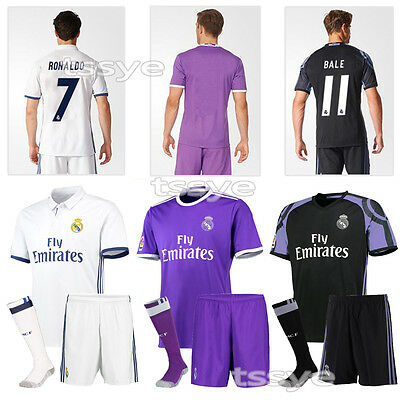 16-17 Adult Men's Football Jersey Kit Soccer Short Team Suit+Socks Sportwear