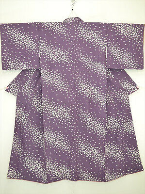 Lovely Vintage Japanese Kimono/Robe/Coat Purple Crepe 'Drifts of Blossoms' 8-12