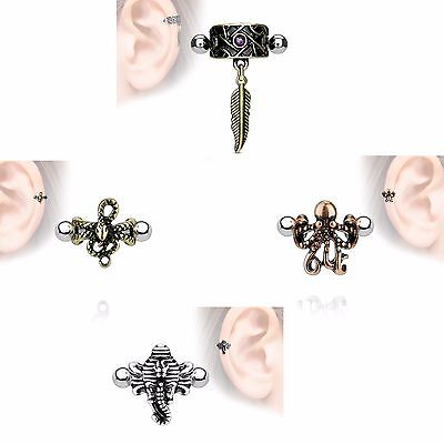 Cartilage Helix Ear Cuff Surgical Steel Barbell - Feather Snake Octopus Elephant