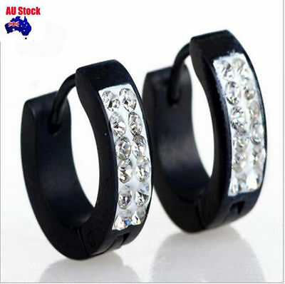 2PCS Fashion Mens Dads Ear Studs Hoop Earrings With diamond Black Gold Silver