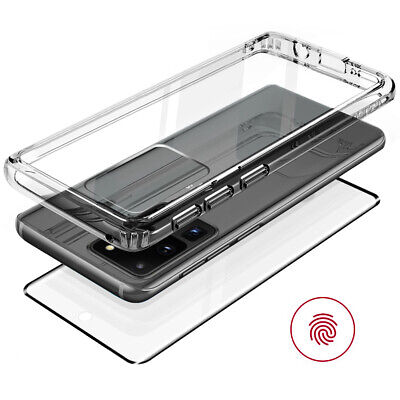 For Galaxy Note10+ S9 S10 Plus Clear Case Cover Tempered Glass Shockproof Hybrid