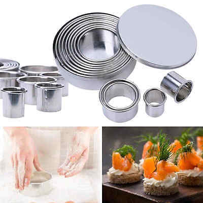 New 12pcs Stainless Steel Round Shaped Cookie Cutter Molds Baking Pastry Kitchen