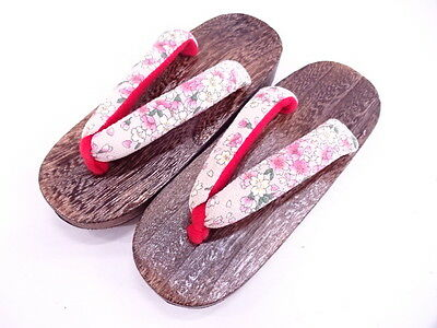 BNIB Japanese Girls' Floral Fabric/Wood Geta/Zori/Toepost Sandals UK 1-2.5/21cm
