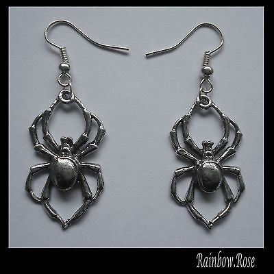 Earrings #107 Pewter Spider GOTH SPIDERS (32mm x 18mm)