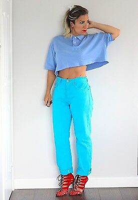 Vintage 1990s Levi's 501 bright turquoise high waisted jeans