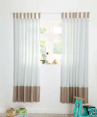 Mamas Papas BOYS PIXIE FINCH TAB TOP NURSERY CURTAINS LINED 132 X 160cm £85 NEW