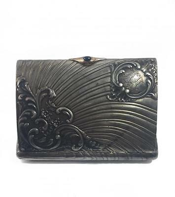 """A beautiful cigarette-case in the style of """"modern"""". Silver 84."""
