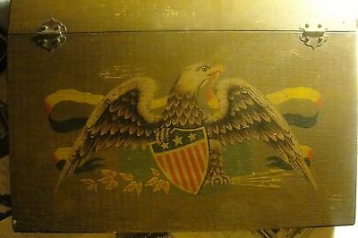 Vintage Writing Desk With Hand Painted Eagle