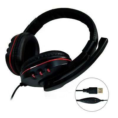 USB Surround Stereo Gaming Headset Headband Headphone with Mic For Computer TA