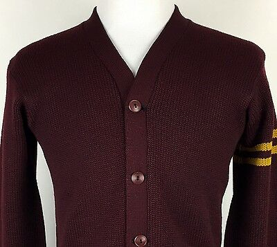 VTG 1950's Logan Knitting Mills Chicago Wool Varsity Sweater Wine & Yellow S/M