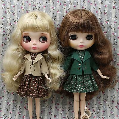 2 Sets 1/6 Cute Floral Sleeveless Dress & Coat for 12'' Blythe Doll Clothes