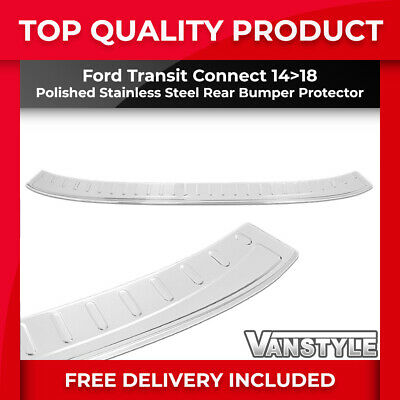 Ford Transit Connect 14+ Tough Polished S.steel Rear Bumper Protector Trim Cover