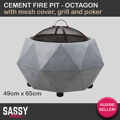 Fire Pit Cement Octagon with Grill & Poker Firepit Outdoor Furniture Fireplace