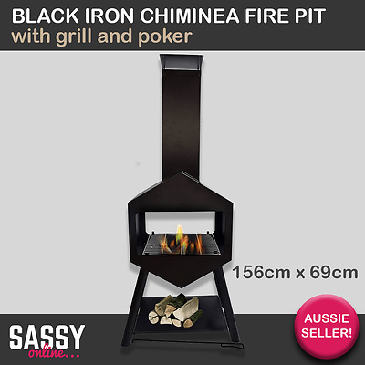 Fire Pit Black Iron Chiminea Open W/ Grill & Poker Outdoor Furniture Fireplace