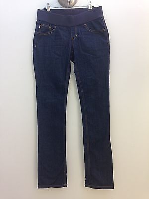 Soon Denim Maternity sz 8 Blue Straight Leg Stretch Waist Jeans AS NEW