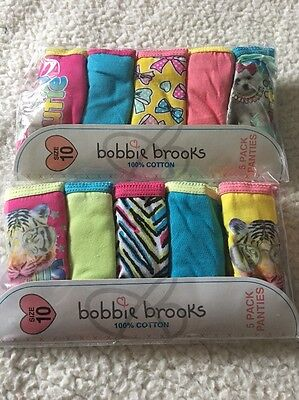 Bobbie Brooks Cotton Underwear Sz 10 Girls 2 Packs -(10) Total Assorted Designs