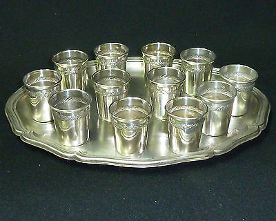 Vintage Solid Silver Hallmarked Set 12 Shot Cups & Tray - Weight 330g - c1900