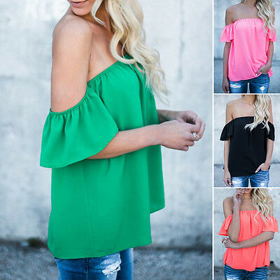 Lady Summer Chiffon Blouse Off The Shoulder Loose Casual Stretch T-Shirt Tops