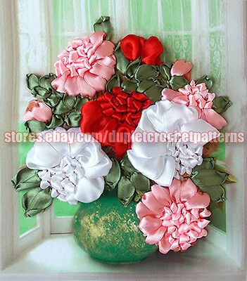 Peonies ribbon embroidery DIY kit, wall hanging artwork, room decor