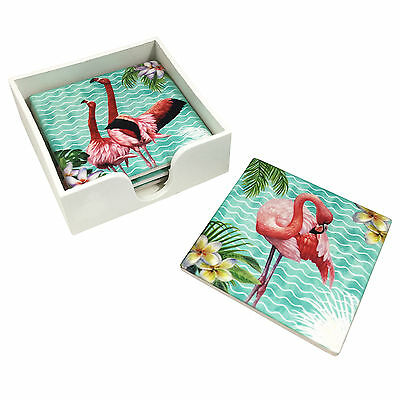 Set of 4 Tropical Flamingo Ceramic Drink Coasters with Gloss Laminate Finish