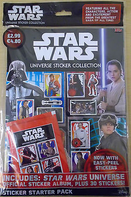 Star Wars Universe ~ Topps Sticker Collection ~ Starter Pack Inc 30 Stickers