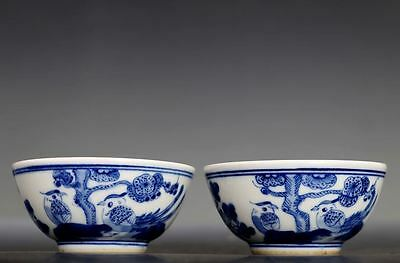 A Pair of Rare Old Chinese B/W Porcelain Tea Bowls Cups KangXi Mark ZS11-2