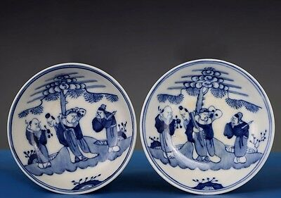 Pair of Rare Antiques Chinese Blue and White Pottery Porcelain Plates FA139