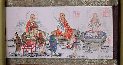 """Long Rare Old Chinese Scroll Hand Painting Figures Marked""""XiangWenYan"""" PP128"""