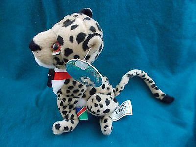 "coca-Cola collectible plush 8"" Cheetah Namibia flag 1999 coke beanie zoo animal"