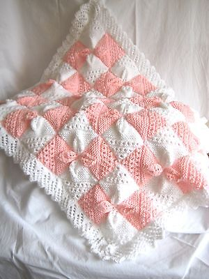 NEW Hand knitted baby blanket WHITE and PINK